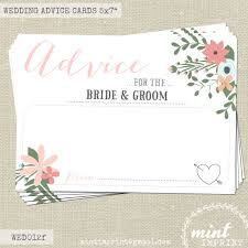 Advice Cards For The Bride And Groom Floral Wedding Advice Cards For The Bride And Groom Wedding