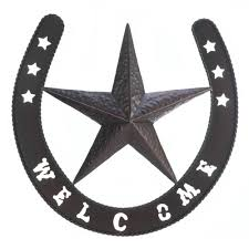 welcome wall western decor star metal plaque cowboy home country