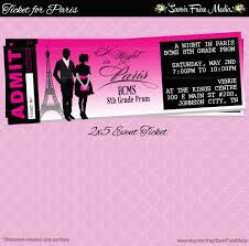 paris themed event ticket customizable prom dance homecoming