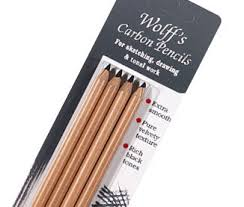 buying charcoal sticks and pencils for drawing