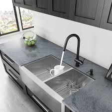 Double Stainless Steel Kitchen Sink by Vigo Alma 33 Inch Farmhouse Apron 60 40 Double Bowl 16 Gauge