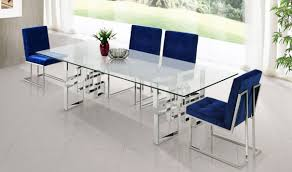 chrome dining room sets 731 alexis dining room set in rich chrome navy by meridian
