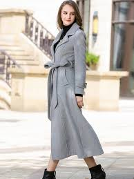 light grey wool coat light grey tie waist wool coat with brooch metisu