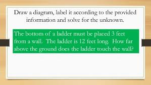 pythagorean theorem word problems for table time