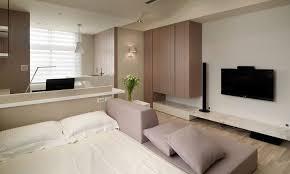small studio apartment design gray colored sofa sopen shelves wall