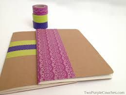 diy washi tape notebooks two purple couches