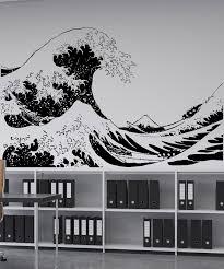 asian decor vinyl wall decal sticker japanese great wave hokusai 363