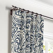 Blue Paisley Curtains White Navy Blue Paisley Curtain Ring Top Front Curtains