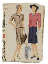 1940 u0027s retro sewing pattern 1945 simplicity pattern no 1277