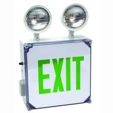 emergency lighting battery life expectancy led exit sign emergency light combo green wet location battery backup