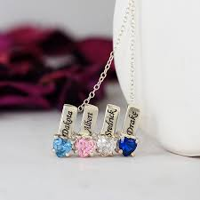 Personalized Charm Necklaces Mother U0027s Necklace W Heart Shape Birthstone Charm