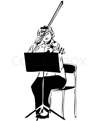 sketch of a playing a violin viola stock photo colourbox