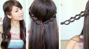 chain braid headband hairstyle for medium long hair tutorial youtube