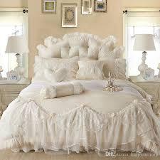 Purple Ruffle Comforter Light White Jacquard Silk Princess Bedding Set Silk Lace Ruffles