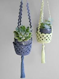Crochet Patterns For Home Decor Succulent Hanger Set Of Two Crochet Plant Hangers Succulent Plant