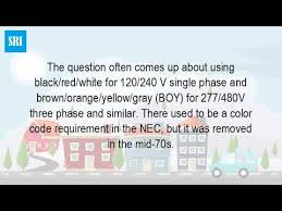 what is the wire color code for 480 vac youtube