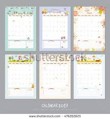 cute calendar template 2017 yearly planner stock vector 476262625