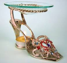 Tea Light Oil Warmer Heart High Heel Shoe Tea Light Fragrance Oil Warmer