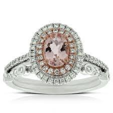 morganite bridal set morganite diamond bridal set 14k ben bridge jeweler