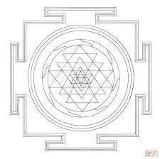 tibetan sri yantra mandala coloring page free printable coloring