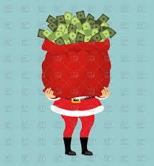 santa and big bag of money christmas gift vector image 143300