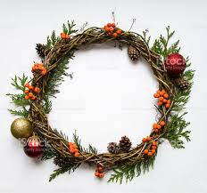 wreath of vines with decorative ornaments thuja rowanberries flat