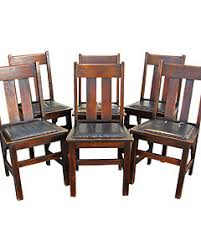 set of 6 antique ritter brothers dining chairs mission oak