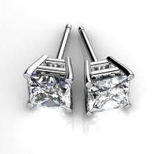 diamond studs earrings platinum princess cut diamond stud earrings union diamond