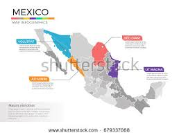 regions of mexico map mexico map infographics vector template regions stock vector
