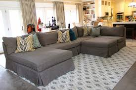 Slipcovered Sectional Sofas Furniture Grey Sectional From Slipcovered Sectional Sofa Pottery
