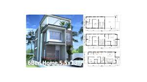 sketchup modern home plan 5 5x13m with 6 bedroom sam architect