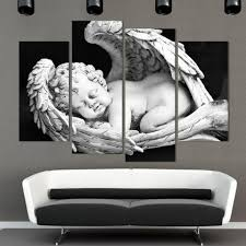 european white and black angels canvas modern painting for living