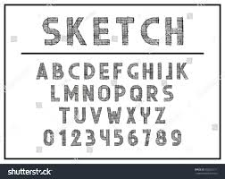 sketch font abc letters print typography stock vector 502825111