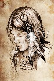 american indian woman tattoo sketch stock illustration image