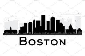 boston city skyline silhouette illustrations creative market