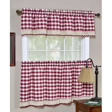 Red Kitchen Curtain by Window Tiers Beddingtrends