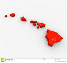 Red State Map by Hawaii Red Abstract 3d State Map United States America Royalty