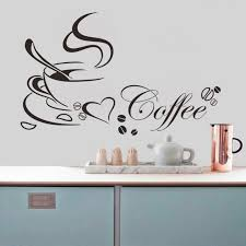 home decor wall caf礬 tasse avec amour coeur vinyle citation amovible wall sticker