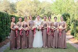 Wine Colored Bridesmaid Dresses Taupe Dresses With Ruby Ribbons Magnolia Pair Wedding Pink
