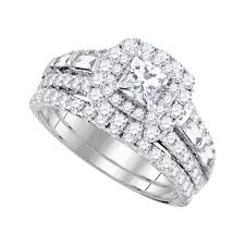 womens engagement rings 14kt white gold womens princess diamond halo bridal wedding