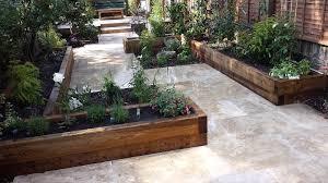 travertine paving patio garden wandsworth london raised beds