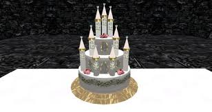 second life marketplace pink castle wedding cake cake slice