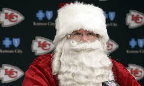 santa claus picture andy entering the chiefs locker room as santa claus is the