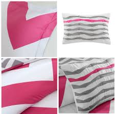 pink white large chevron bedding teen twin xl full queen
