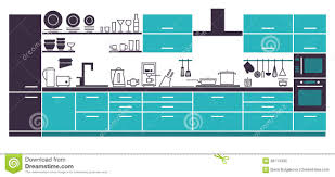 Modern Kitchen Interior Modern Kitchen Interior Layout Stock Vector Image 68713332