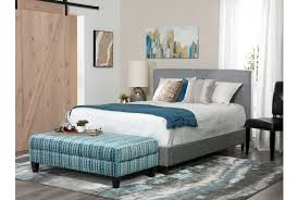 Bed by Dean Charcoal Queen Upholstered Panel Bed Living Spaces