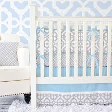 mod lattice crib bedding set in vintage blue and gray by caden lane