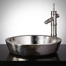 hammered nickel bathroom sink semi recessed copper sink hammered polished nickel bathroom