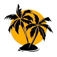tropical paradise palm trees and sun logo stock vector