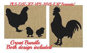 Designerk Hen Hen Rooster U0026 Baby Silhouette Embroidery Design